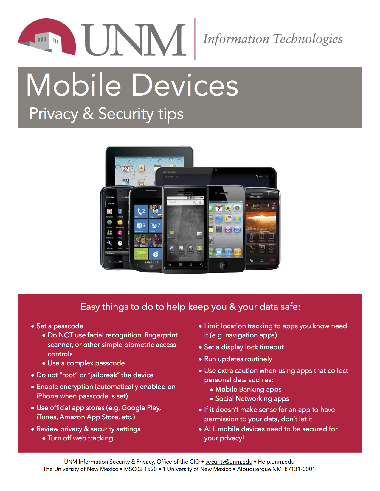 Media information security privacy office the university of new mexico - Office for mobile devices ...